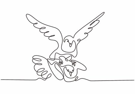 Mother bird and her little kid. Animal one continuous line drawing minimalism style. Vector sketch hand drawn.