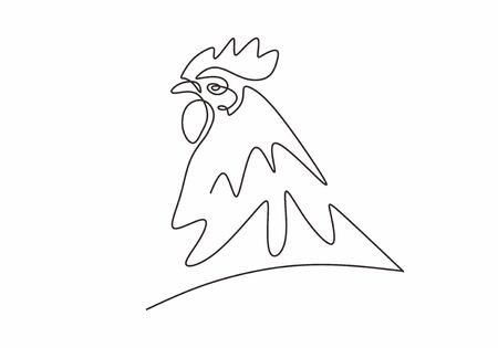 Chicken rooster continuous one line drawing minimalism. Vector sketch hand drawn simplicity style.
