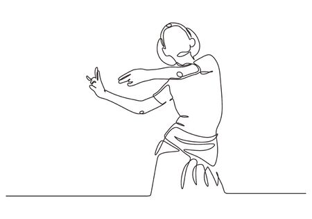 Continuous one line drawing of Indian dancer vector. Young girl or woman dancing with traditional dress.