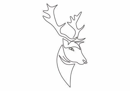Deer or reindeer head continuous one line drawing minimalist design vector illustration isolated on white background. Editable stroke lineart simplicity style.