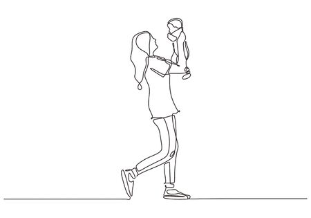 Continuous one line drawing of baby born. Happy mother exiting and holding her son.