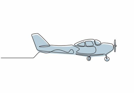 Continuous one line drawing of airplane. Vector minimalism design simplicity style.