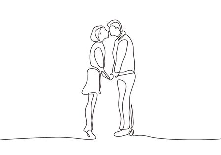 Continuous one line drawing of romantic couple minimalism. Vector of happy man and woman in love. 向量圖像