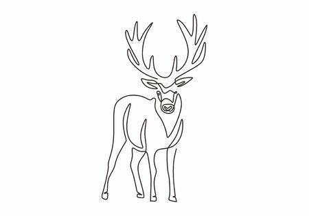 One line design silhouette of deer. Hand drawn single continuous line minimalism style. Vector illustration