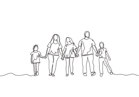 Continuous one line drawing of happy family. Concept of mother, father, daughter, son, and kids. Vector parenting theme minimalism design. Illustration