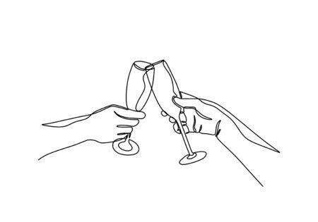 Continuous one line drawing of cheers of wine glass. Hands cheering with glasses of champagne. Vector simplicity and minimalism. Illustration