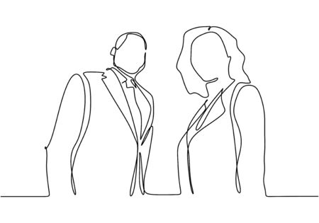 Continuous one line drawing of portrait of businessman and businesswoman standing vector. Illustration of boss or CEO company and secretary. Man and girl hand drawn sketch single minimalism design. Illustration