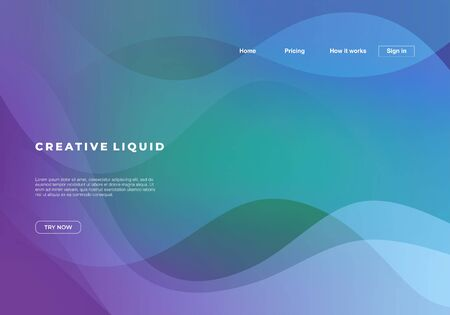 Fluid background with abstract waves and gradient colors for landing page template.