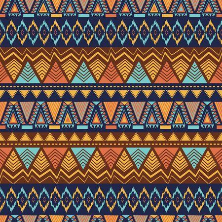 Patrón étnico sin fisuras con abstractos geométricos dibujados a mano. Ilustración de vector de moda textil lista para imprimir.
