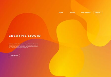 Creative liquid background for landing page template. 向量圖像
