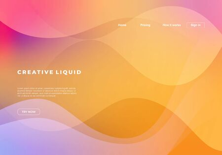 Vector Creative liquid background for landing page template.