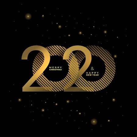 Golden 2020 New Year on a dark background Creative element for design luxury cards invitations party. Vector gold colors modern festive card with sparkling glitter stars. Illusztráció