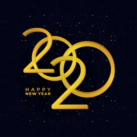 Happy New Year 2020. Vector gold colors modern festive card with sparkling glitter stars. Modern holiday banner.