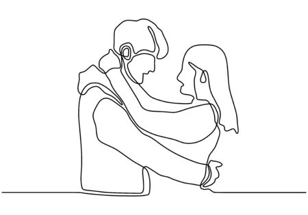continuous line drawing relationship vector. One hand drawn of young man and woman in love. Guy and girl want to kiss each other. People embrace and share happiness. Simplicity lineart design.