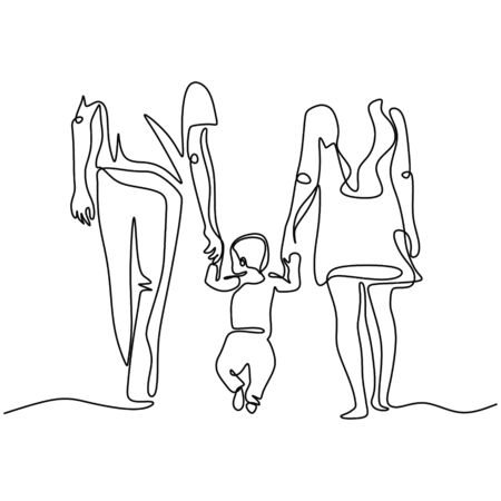 Continuous one single line drawing of family walking. Mother, Father, and son concept of holding hands together. Parenting and childhood theme metaphor vector illustration simplicity style.