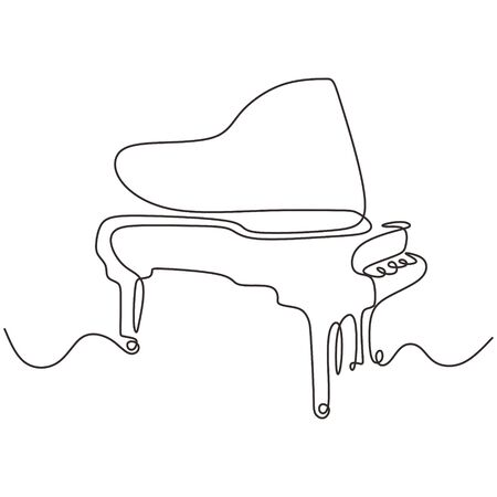 Piano one line drawing. Continuous single hand drawn lineart of classical music instrument minimalism design. Ilustracja