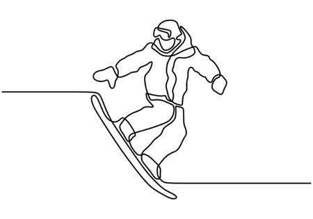Continuous one line drawing of snowboarding vector illustration. Person doing winter sport.