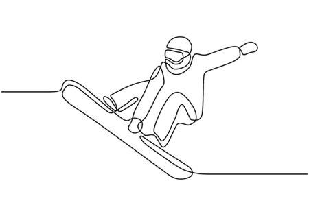 Ciągły rysunek jednej linii sportów zimowych na snowboardzie. Mężczyzna na snowboardzie skoki freestyle. Projekt minimalizmu wektorowego.