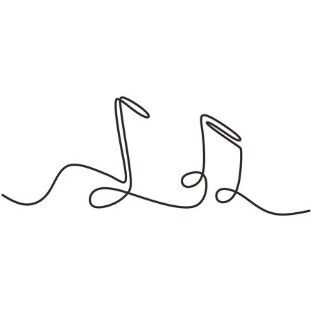 one line drawing of music notes isolated vector object continuous simplicity lineart design of sign and symbols. Иллюстрация