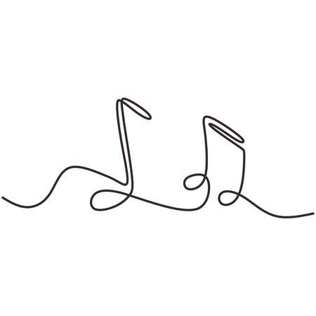 un disegno a tratteggio di note musicali oggetto vettoriale isolato continua semplicità lineart design di segni e simboli. Vettoriali