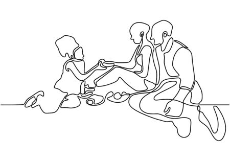 Happy family picnic one line continuous drawing. Vector couple with food, snacks and meals. People relaxation and refreshing sit on the garden. Illustration