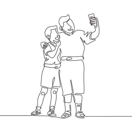Continuous one line drawing of two young male person taking selfie with mobile phone. Camera in action to capture happiness and cheerful moment with smartphone gadget. Vector simplicity style.
