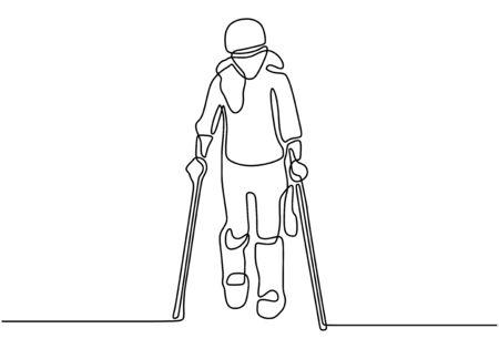 Un dessin au trait continu d'une fille marchant et utilisant une paire de béquilles en bois et des bâtons de marche médicaux pour la rééducation d'une jambe cassée Vecteurs