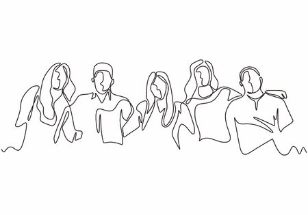 Continuous one line drawing of diversity concept of people with minimalism hand drawn. Vector man and woman in the group of five persons in different age and gender. Simplicity design illustration. Stock Illustratie