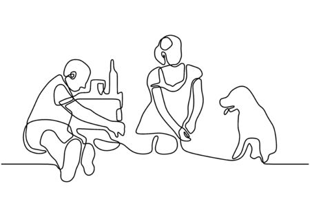 Happy family picnic one line continuous drawing. Vector couple with food, snacks and meals. People relaxation and refreshing sit on the garden. Ilustrace