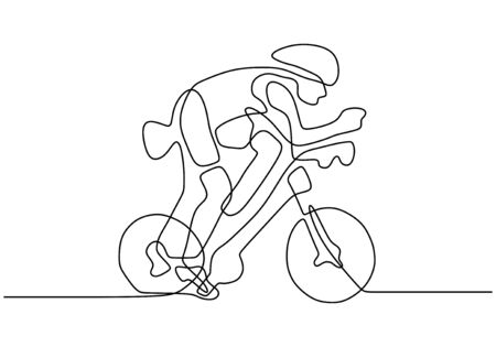Continuous one line drawing of person riding bicycle on sport game competition. A man with bike going fast on the tournament.