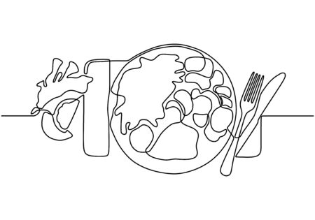 Food on the plate continuous one line drawing. Vector meal for eating minimalism illustration hand drawn sketch doodle lineart design.