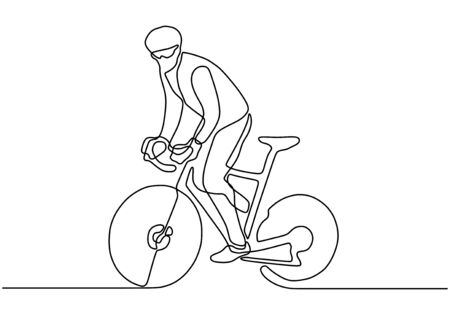 continuous one line drawing of sport Cycling triathlon. Bicycle athlete or cyclist riding on the street. Vector illustration health concept