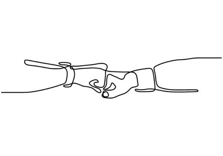 Continuous one line drawing of bro fist bump or pound lineart hands. Concept of brother giving a punch.