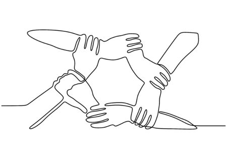 Continuous one line drawing of join hands puzzle business metaphor of teamwork. Vector illustration unity, strength, and togetherness. Vectores