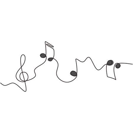 eine linie zeichnung von musiknoten isoliertes vektorobjekt kontinuierliche einfachheit lineart design von zeichen und symbolen.