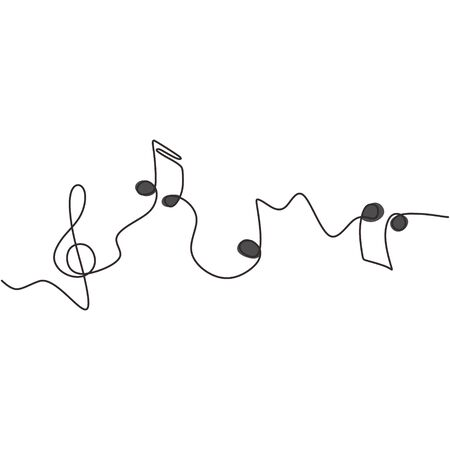 one line drawing of music notes isolated vector object continuous simplicity lineart design of sign and symbols. Illustration