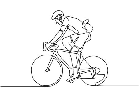 Continuous one line cyclist in helmet riding a bicycle. Minimalist design drawing of sportsman doing sport competition. 向量圖像