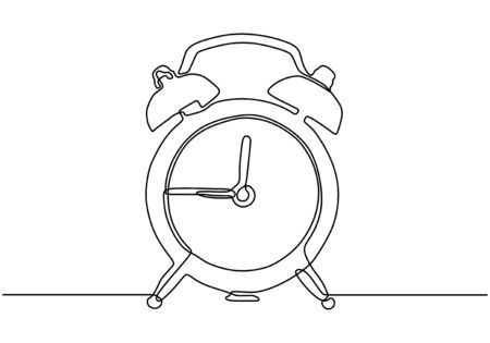 Alarm clock continuous one line drawing minimalist design on white background