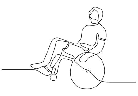 one line disability person on wheelchair. Vector people with injury and broken legs need medical help. Drawing of simplicity sketch a patient.