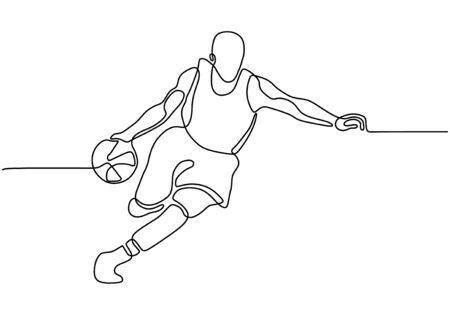 Disegno continuo a una linea del giocatore di basket che dribbla e tiene la palla. Atleta in esecuzione semplicità minimalismo design.