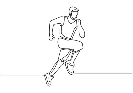 Kontinuierliche einzeilige Zeichnung einer Person, die sehr schnell auf Sportthema-Design läuft Vektorgrafik