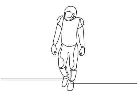 Continuous one line drawing of American soccer sport player. Portrait of a man with costume walking on field vector illustration.