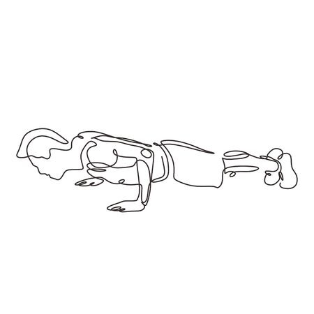 Continuous one line drawing of push up person. Man doing exercise at gym. Vector illustration minimalism sport theme design. Illusztráció