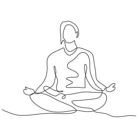 Dessin continu d'une personne assise en position du lotus pour l'exercice de yoga ou la méditation. Conception de thème sport minimalisme illustration vectorielle.