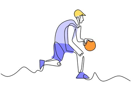 Continuous line drawing of basketball player. Person playing basket game sport vector illustration minimalism Иллюстрация
