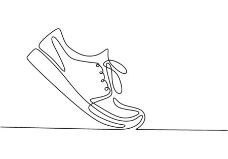 Vector illustration of sneakers. Sports shoes in a line style. Continuous one line drawing minimalism design.