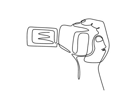 Videographer. Continuous line drawing. Isolated on the white background. Digital handycam or camrecorder video camera.