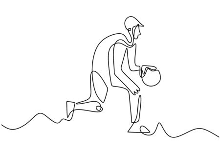 Continuous line drawing of basketball player. Person playing basket game sport vector illustration minimalism Banque d'images - 134323303