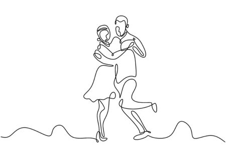 Continuous one line drawing of couple dance vector. Man and girl doing romantic dancing minimalism design illustration.