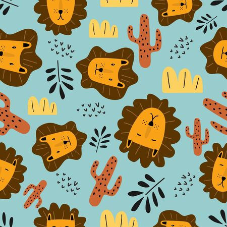 Funny lion seamless pattern cute characters. Vector illustration hand drawn childish drawing scandinavian style for fashion textile print. Ilustracja